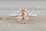 14k Rose Gold Diamond Pink Peach Sapphire Halo Engagement Ring