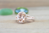 Payment plan Ava Morganite Oval Cut Halo Ring
