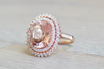 13x11mm Oval Morganite 14k Rose Gold Diamond Double Halo