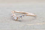 Gold Diamond Curved Crown Staggered Shadow Ring ASPBR010038