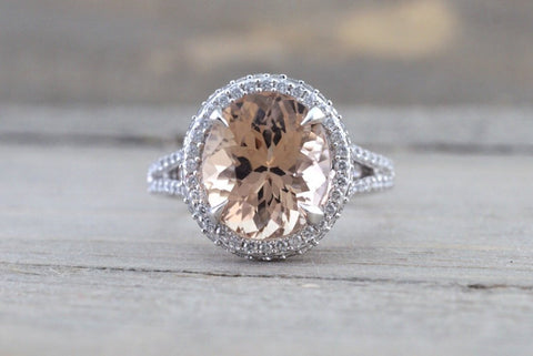 11x9mm Morganite 14k White Gold Oval Cut Pink Diamond Halo Ring