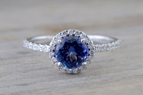 18k White Gold Round Cut Tanzanite Diamond Halo Wedding Engagement Promise Ring Anniversary Dainty Shank Purple Blue