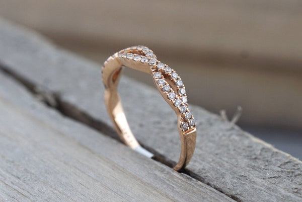 14k Rose Gold Infinity Twist Cross Intertwined Crossover Vine Vintage Diamond Engagement Band Brilliant Cut