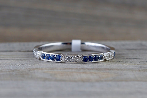 14k White Gold Blue Sapphire And Diamond Pave Stackable Ring