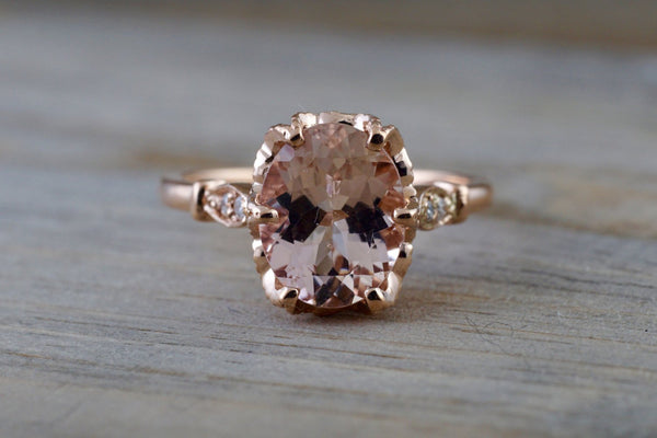 14k Rose Gold 10x8mm Oval Morganite With Round Cut Diamonds Art Deco Vintage Design Promise Ring Anniversary
