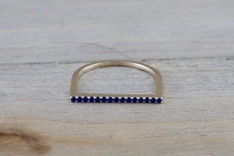 14k White Gold Round Cut Blue Sapphire  Pave Stackable Stacking Promise Ring Anniversary Dainty Thin