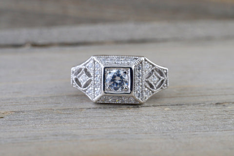 14k White Gold Diamond Vintage Milgrain Etch Etching Ring Antique Filigree Art Deco Design