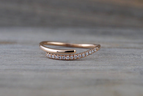 14k Rose Gold Diamond Pave Polished Stackable Ring Band Promise Anniversary Fashion Rope Twist Open Curve