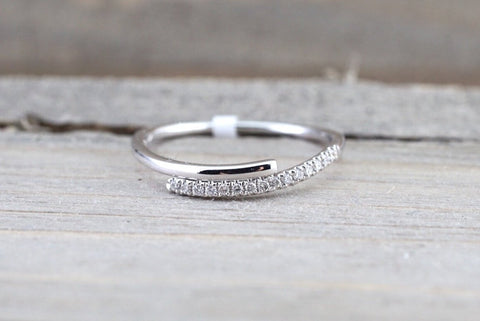 14k White Gold Diamond Pave Polished Stackable Ring Band Promise Anniversary Fashion Rope