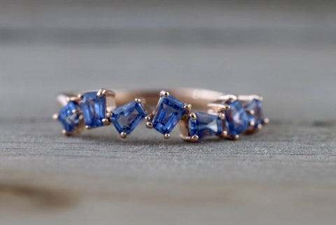 Staggered Sapphire Baguette Ring