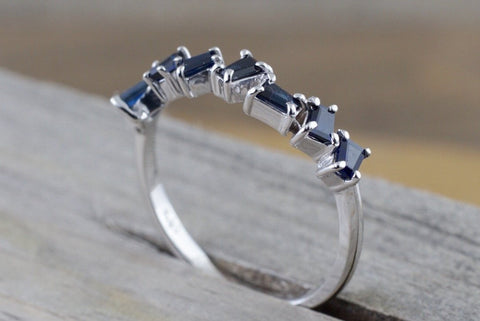 14k White Gold Sapphire Baguette Cut Band Stackable Design Ring Wedding Twist