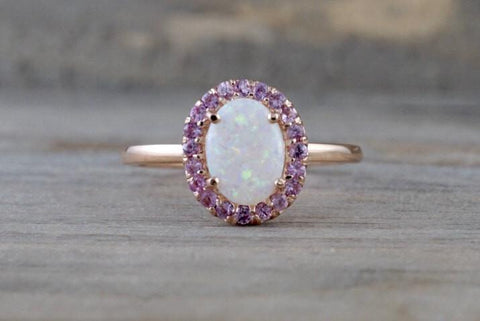 14k Rose Gold Oval Fire Opal And Pink Sapphire Halo Engagement Love Anniversary Ring