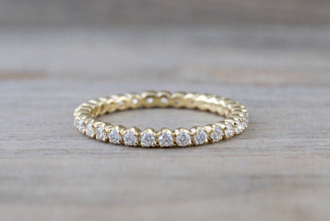 14k Yellow Gold Eternity Diamond Vintage Milgrain Classic Full Eternity Band Ring Engagement Wedding