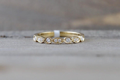 14k Yellow Gold Dainty Diamond Milgrain Band Wedding Anniversary Love Ring Band Vintage Thin