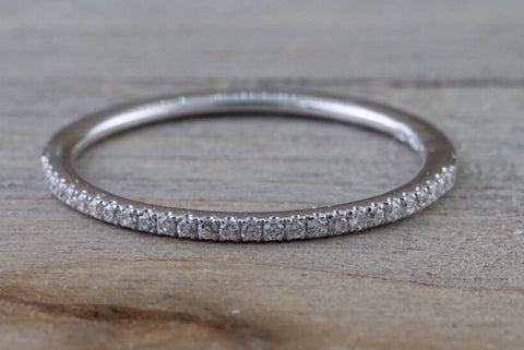 14kt White Gold 1mm Diamond Ring Band Wedding Engagement Stack Dainty