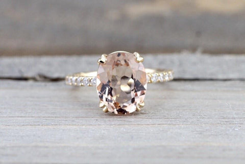 14k Yellow Diamond Oval Morganite Engagement Ring Band  11x9 Solitaire