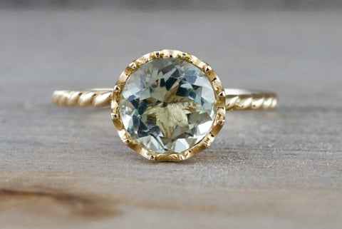 Melrose 14k Yellow Gold 8mm Round Green Amethyst Engagement Ring Crown Vintage Design Rope Classic February Birthstone