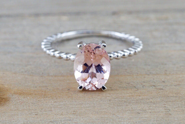 1.85 cts 14k White Gold Elongated Oval Cut Pink Peach Morganite Prong Engagement Promise Ring Rope