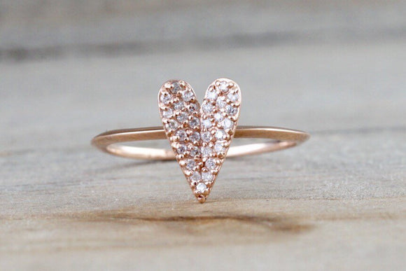 14k Rose Gold Diamond Micro Pave Heart Anniversary Promise Love Ring Band Fashion