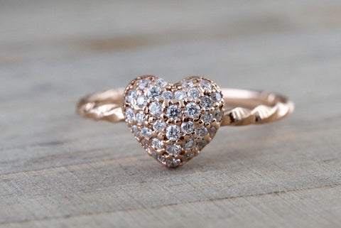 14k Rose Gold Diamond Puff Micro Pave Heart Anniversary Promise Love Ring Band Fashion