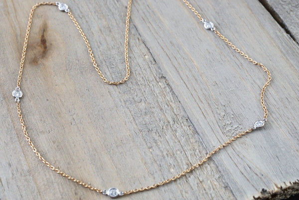 18k Rose and White Gold 5 Diamond Necklace Chain Dainty 16inches Diamond by the yard