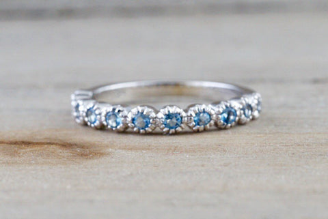 14k White Gold Round Aquamarine Vintage Milgrain Etch Etching Ring Antique Half Filigree Dainty Band Bezel
