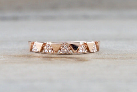 14k Rose Gold Infinity Twist Arrow Crossover Triangle Diamond Engagement Band Brilliant Cut