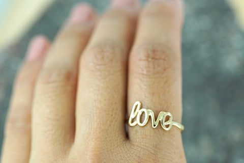 14k Yellow Gold Polished Love Ring Band Promise Anniversary Fashion Solid Dainty Font Text Calligraphy Written Text Handwrite