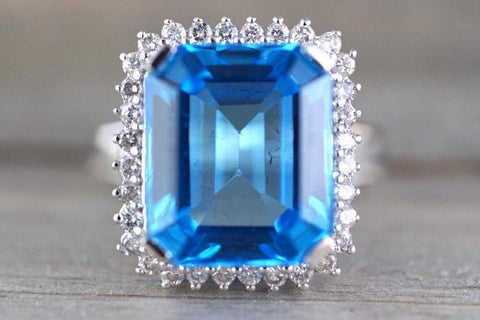 14k White Gold Blue Topaz Large Emerald Shape Diamond Halo Trillion Engagement Anniversary Ring