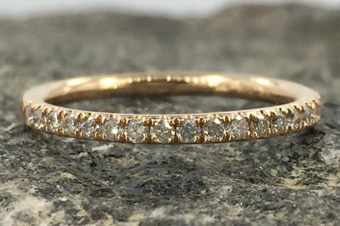 14k Rose Gold Dainty Thin Diamond Engagement Wedding Band Ring Brilliant Cut