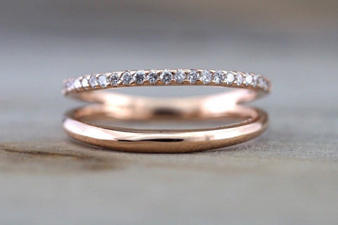14k Rose Gold Stack Design Dainty Thin Band and Diamond Ring Wedding Engagement Band Brilliant Cut Ring Double Row Curve Open