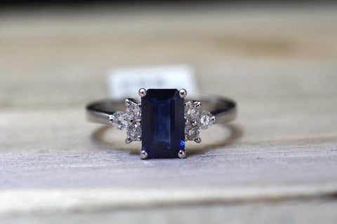 18k White Gold Emerald Shape Cut Blue Sapphire Diamond Engagement Promise Ring Anniversary Halo Vintage Art Deco