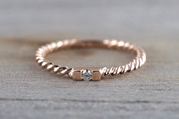 14k Solid Rose Gold Past Present Future Stackable Diamond Hammered Textured Rope Twist Band Braided Ring Dainty