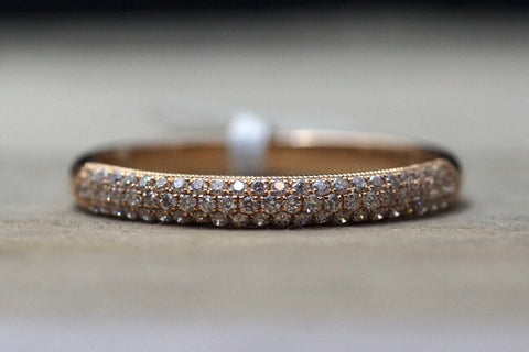 14k Rose Gold Micro Pave Dome Design Dainty Thin Diamond Engagement Band Brilliant Cut