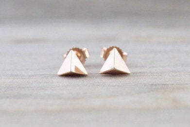 14k Rose or Yellow Gold Pyramid Triangle Stud Earring Studs 3d Point ERTRI3DR