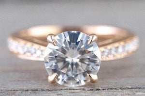 8mm 18k Rose Gold Solitaire Round Moissanite Diamond Promise Ring Charles & Colvard