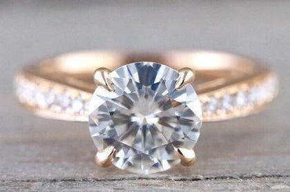 8mm 18k Rose Gold Solitaire Round Moissanite Diamond Ring Charles & Colvard M3077