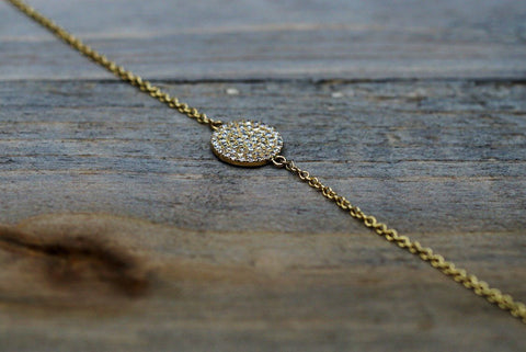 14k Solid Yellow Gold Round Circle Disk Micro Pave Diamond Infinite Charm Bracelet Dainty Love Gift Fashion