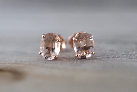 14k Solid Rose Gold Oval Cut Pink Peach Morganite Earring Studs Post Push Back Square Gemstone Earrings Dainty Design