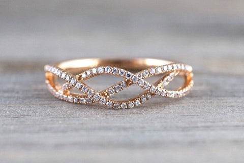 18k Rose Gold Diamond Infinity Intertwined Band Promise Ring Wedding Anniversary Stackable Fashion Eternal Love