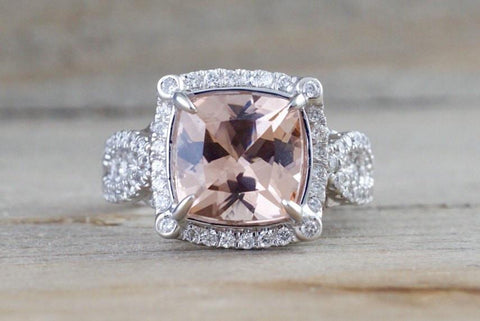 18k White Gold Cushion Cut Morganite Diamond Halo Engagement Ring Vintage Vine Checkerboard 14mm