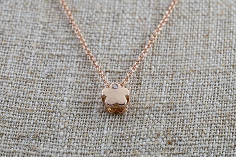 "14k Rose Gold Small Flower Clover Diamond Pendent Slider with 16"" 14k Rose Gold Chain"