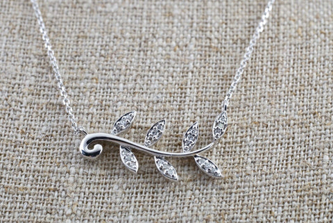 14k White Gold Micro Pave Diamond Leaf Dainty Necklace Pendant Charm
