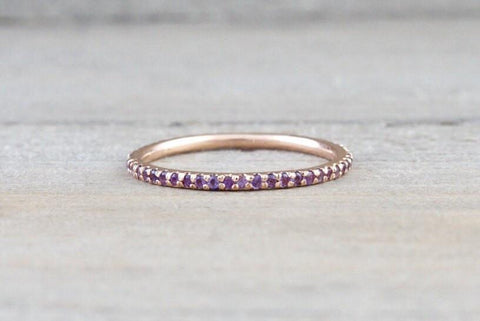 14k Rose Gold Purple Amethyst Dainty Eternity Band Ring