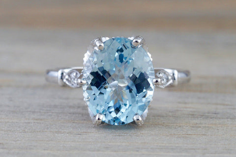 Aquamarine set on 14k White Gold With Round Cut Diamonds Art Deco Vintage Design Ring Anniversary Engagement 11x9mm
