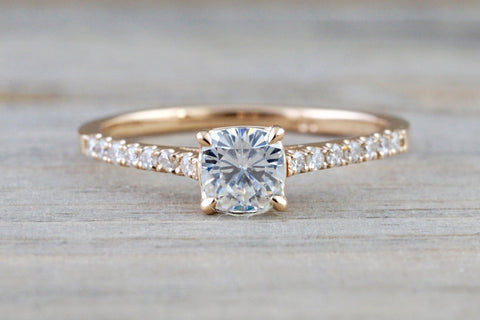 Forever One 14k Rose Gold Solitaire Cushion Moissanite Diamond Engagement Promise Ring Charles & Colvard 4.5mm