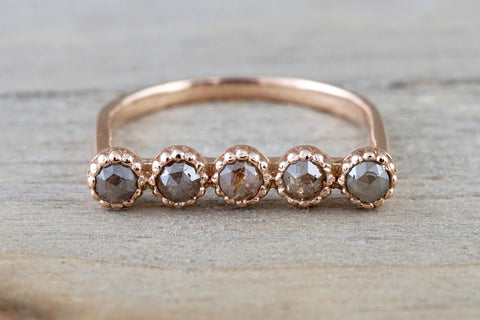 14kt Rose Gold Rose Cut Champagne Diamond Ring Band Square Design Engagement Stack Dainty