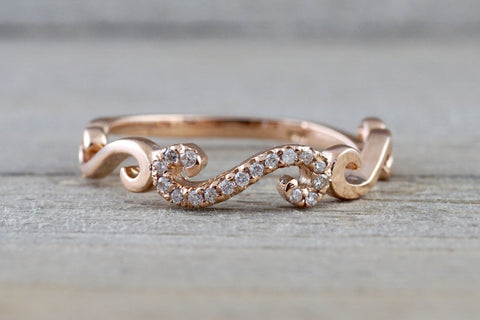 14k Rose Gold Diamond Pave Ring Band Promise Anniversary Rope