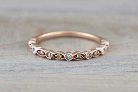 14k Rose Gold Diamond Vintage Milgrain Etch Etching Ring Antique Half Eternity Filigree Dainty Band
