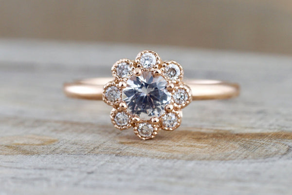 14k Rose Gold Round White Sapphire Diamond Halo Engagement Ring Band Floral Flower